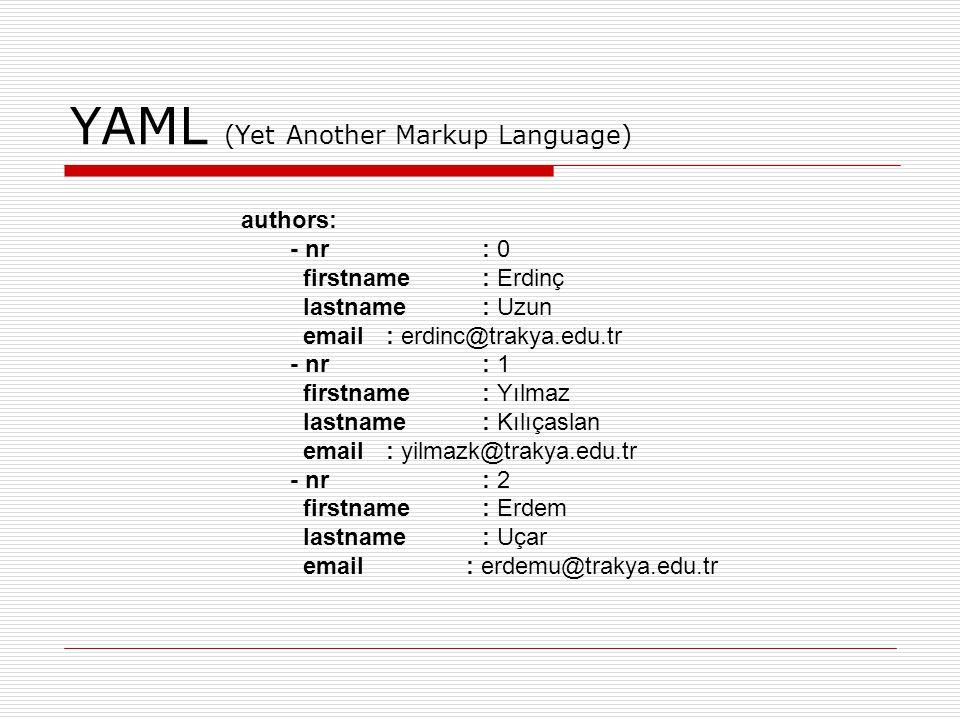 SMEL (Some Modest Extensible Language) Table(id= data: authors ) { fields(pk=!nr) { field(id=!nr type= number ); field(id=!firstname type= text ); field(id=!lastname type= text ); field(id=!email type= text ); } data { row {0, Erdinç , Uzun , erdinc@trakya.edu.tr } row {1, Yılmaz , Kılıçaslan , yilmazk@trakya.edu.tr } row {2, Erdem , Uçar , erdemu@trakya.edu.tr } }