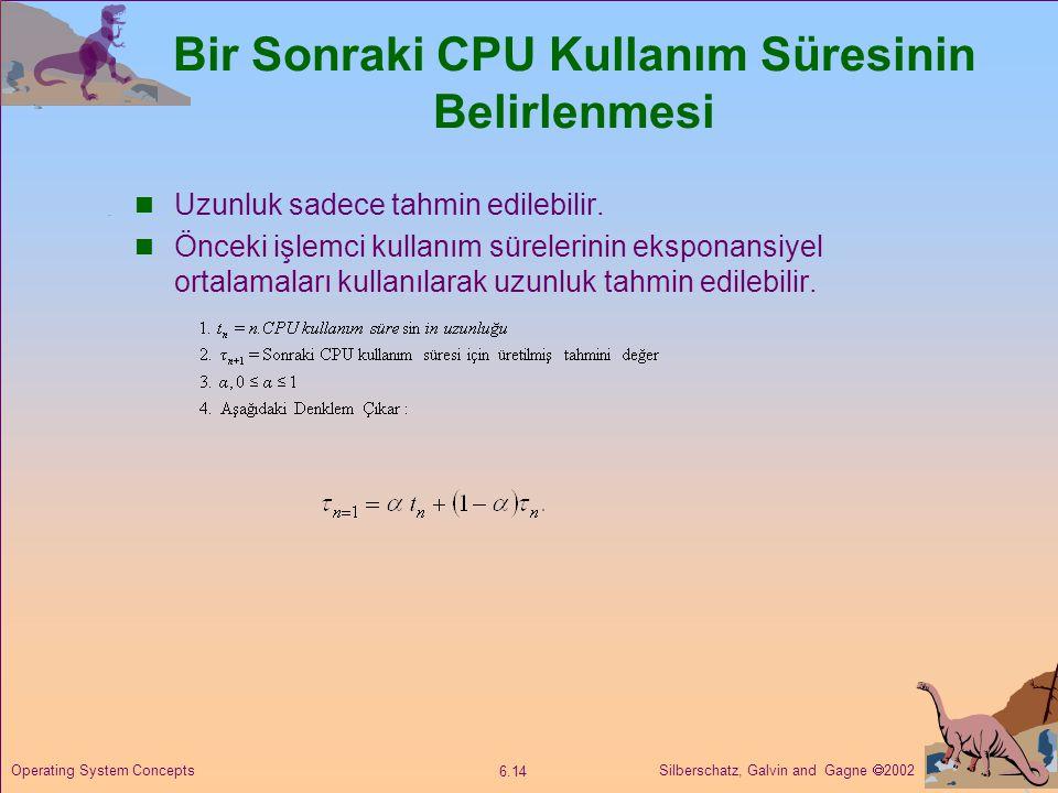Silberschatz, Galvin and Gagne  2002 6.14 Operating System Concepts Bir Sonraki CPU Kullanım Süresinin Belirlenmesi  Uzunluk sadece tahmin edilebili