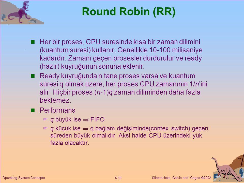 Silberschatz, Galvin and Gagne  2002 6.18 Operating System Concepts Round Robin (RR)  Her bir proses, CPU süresinde kısa bir zaman dilimini (kuantum