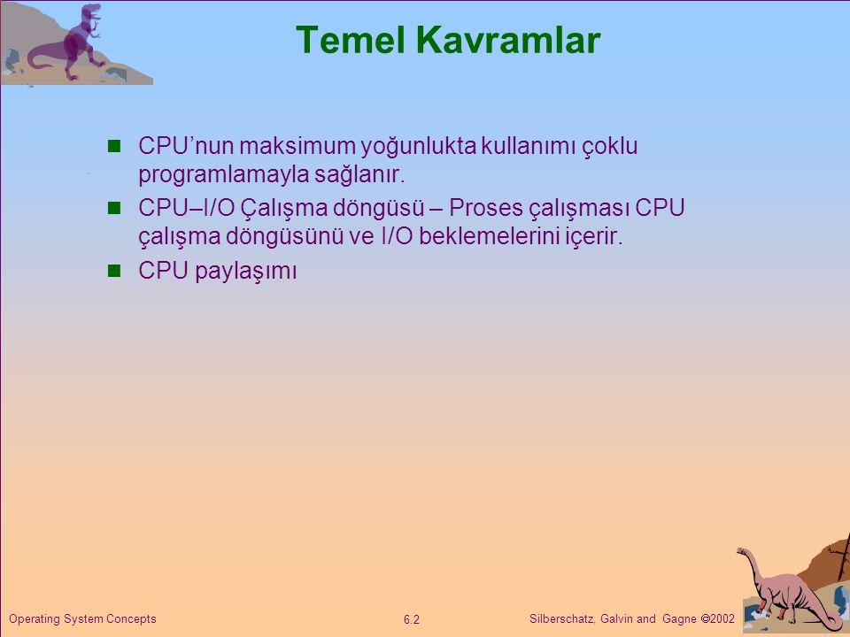 Silberschatz, Galvin and Gagne  2002 6.2 Operating System Concepts Temel Kavramlar  CPU'nun maksimum yoğunlukta kullanımı çoklu programlamayla sağla