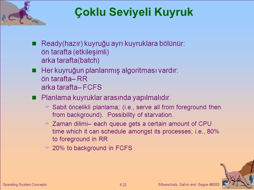 Silberschatz, Galvin and Gagne  2002 6.22 Operating System Concepts Çoklu Seviyeli Kuyruk  Ready(hazır) kuyruğu ayrı kuyruklara bölünür: ön tarafta
