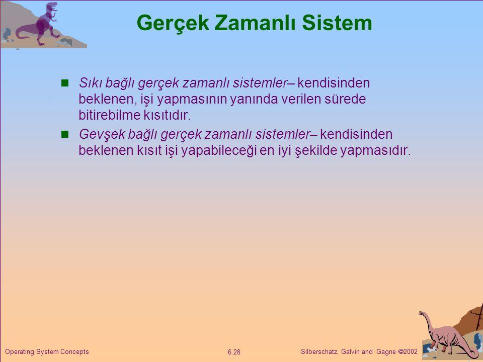 Silberschatz, Galvin and Gagne  2002 6.28 Operating System Concepts Gerçek Zamanlı Sistem  Sıkı bağlı gerçek zamanlı sistemler– kendisinden beklenen