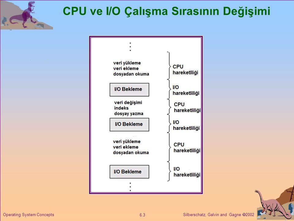 Silberschatz, Galvin and Gagne  2002 6.3 Operating System Concepts CPU ve I/O Çalışma Sırasının Değişimi