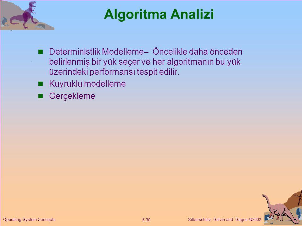 Silberschatz, Galvin and Gagne  2002 6.30 Operating System Concepts Algoritma Analizi  Deterministlik Modelleme– Öncelikle daha önceden belirlenmiş