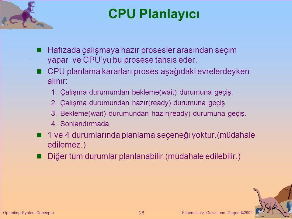 Silberschatz, Galvin and Gagne  2002 6.5 Operating System Concepts CPU Planlayıcı  Hafızada çalışmaya hazır prosesler arasından seçim yapar ve CPU'y