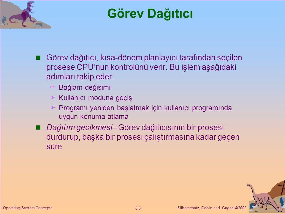 Silberschatz, Galvin and Gagne  2002 6.7 Operating System Concepts Planlama Kriterleri  CPU kullanımı – CPU'yu mümkün olduğu kadar meşgul tutma  Verim – Bir zaman diliminde çalışması tamamlan proses sayısı  Tur süresi– Bir prosesin oluşturulmasından çalışmasının sonlanmasına kadar geçen süre  Bekleme süresi– Prosesin ready kuyruğundaki bekleme süresi  Yanıt süresi– Bir prosese bir talep iletildiğinde ilk cevabın gelmesine kadar geçen süre