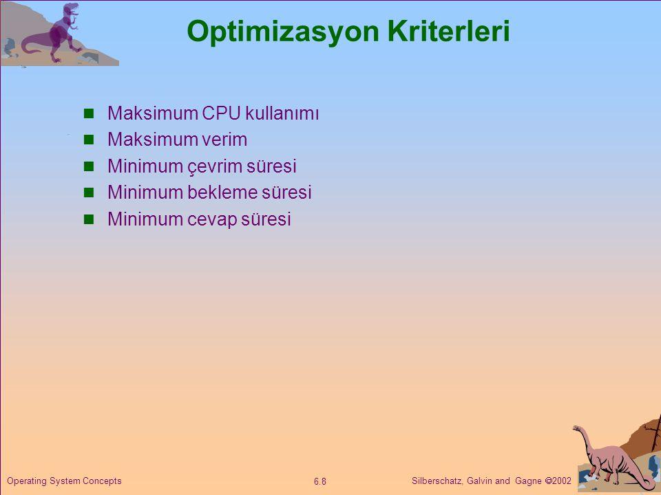 Silberschatz, Galvin and Gagne  2002 6.8 Operating System Concepts Optimizasyon Kriterleri  Maksimum CPU kullanımı  Maksimum verim  Minimum çevrim