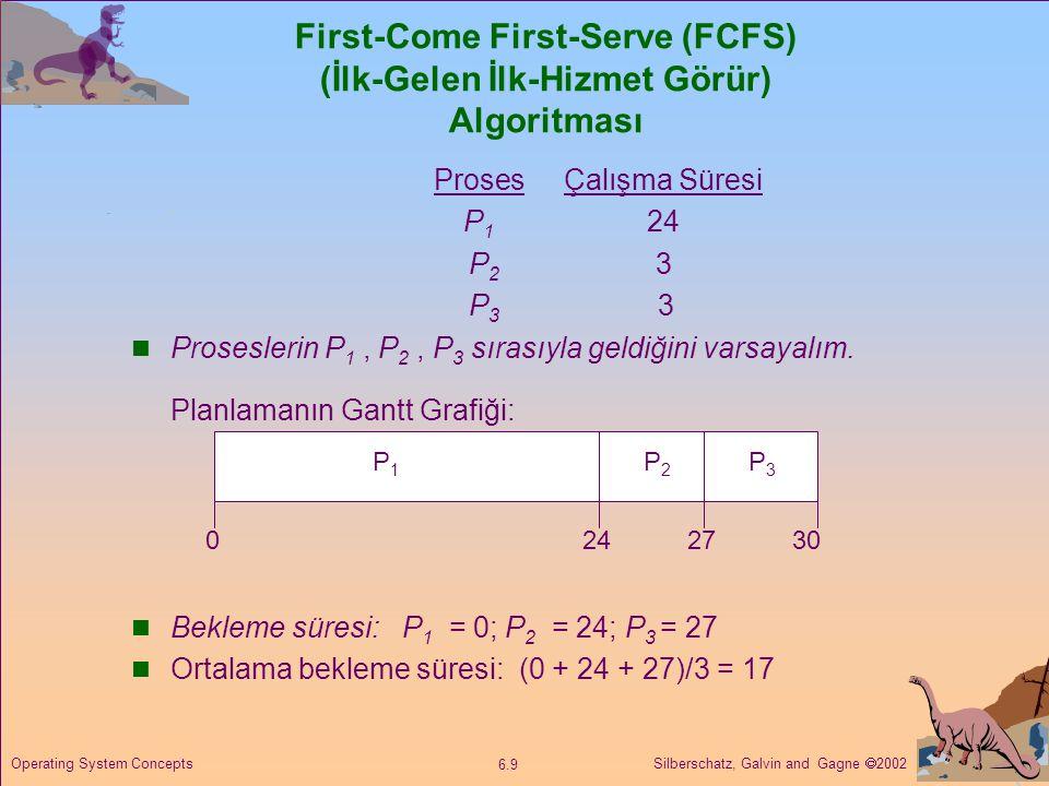 Silberschatz, Galvin and Gagne  2002 6.10 Operating System Concepts FCFS Planlaması Proseslerin P 2, P 3, P 1 sıralamasına sahip olduğu varsayılırsa:  Gantt grafiğine göre planlama şu şekildedir :  Bekleme süreleri P 1 = 6; P 2 = 0 ; P 3 = 3  Ortalama bekleme süresi: (6 + 0 + 3)/3 = 3  Önceki örnekten daha iyidir.