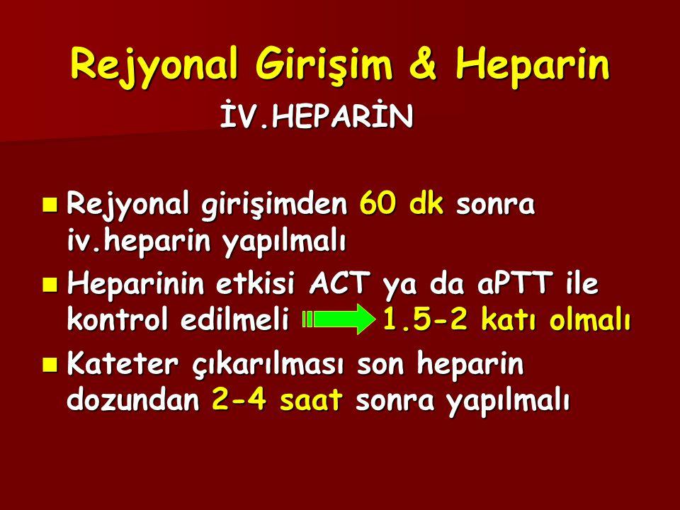 Rejyonal Girişim & Heparin İV.HEPARİN İV.HEPARİN  Rejyonal girişimden 60 dk sonra iv.heparin yapılmalı  Heparinin etkisi ACT ya da aPTT ile kontrol edilmeli 1.5-2 katı olmalı  Kateter çıkarılması son heparin dozundan 2-4 saat sonra yapılmalı