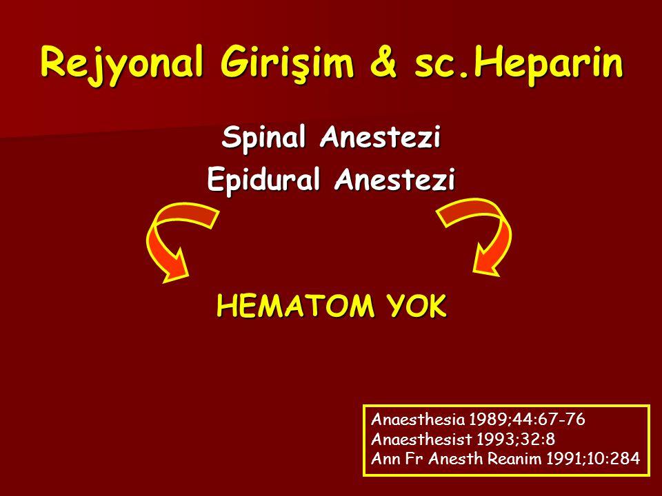 Rejyonal Girişim & sc.Heparin Spinal Anestezi Epidural Anestezi HEMATOM YOK Anaesthesia 1989;44:67-76 Anaesthesist 1993;32:8 Ann Fr Anesth Reanim 1991;10:284