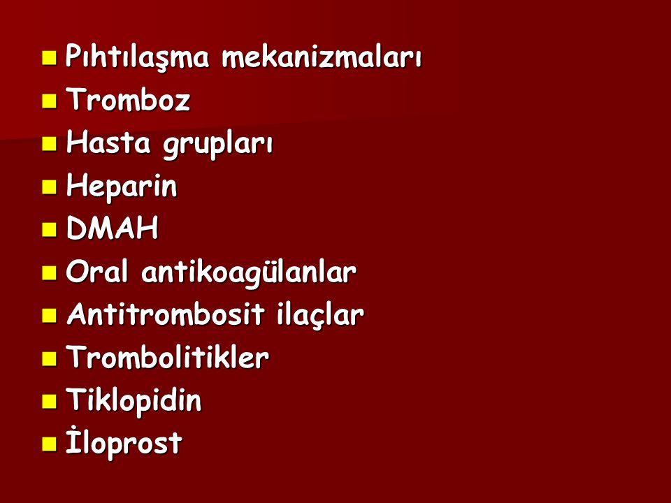 Antitrombosit İlaçlar  Aspirin  NSAİİ  Dipiridamol  Tiklopidin  Klopidogrel  Dekstran   -blokerler  Prostasiklin  Balık yağı   -laktam antibiyotikler  E vitamini  Ca +2 kanal blokerleri