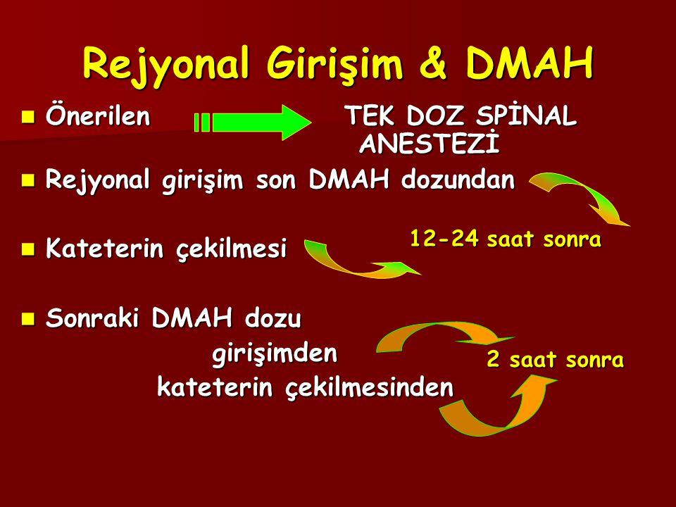 Rejyonal Girişim & DMAH  Önerilen TEK DOZ SPİNAL ANESTEZİ  Rejyonal girişim son DMAH dozundan  Kateterin çekilmesi  Sonraki DMAH dozu girişimden girişimden kateterin çekilmesinden kateterin çekilmesinden 2 saat sonra 12-24 saat sonra