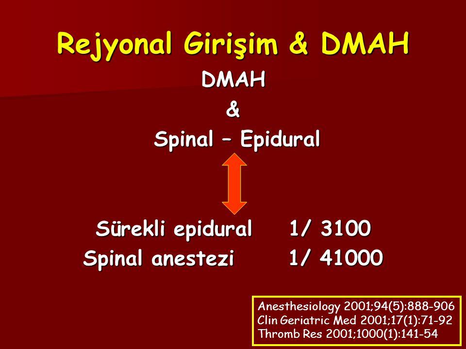 Rejyonal Girişim & DMAH DMAH& Spinal – Epidural Spinal – Epidural Sürekli epidural 1/ 3100 Spinal anestezi 1/ 41000 Anesthesiology 2001;94(5):888-906 Clin Geriatric Med 2001;17(1):71-92 Thromb Res 2001;1000(1):141-54