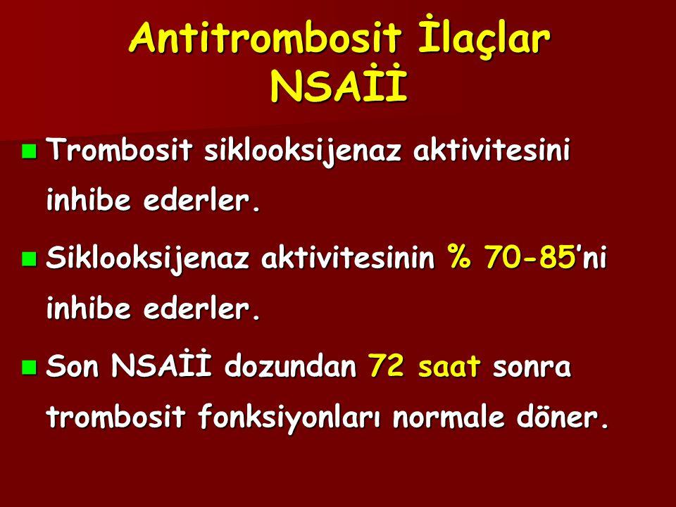 Antitrombosit İlaçlar NSAİİ  Trombosit siklooksijenaz aktivitesini inhibe ederler.  Siklooksijenaz aktivitesinin % 70-85'ni inhibe ederler.  Son NS