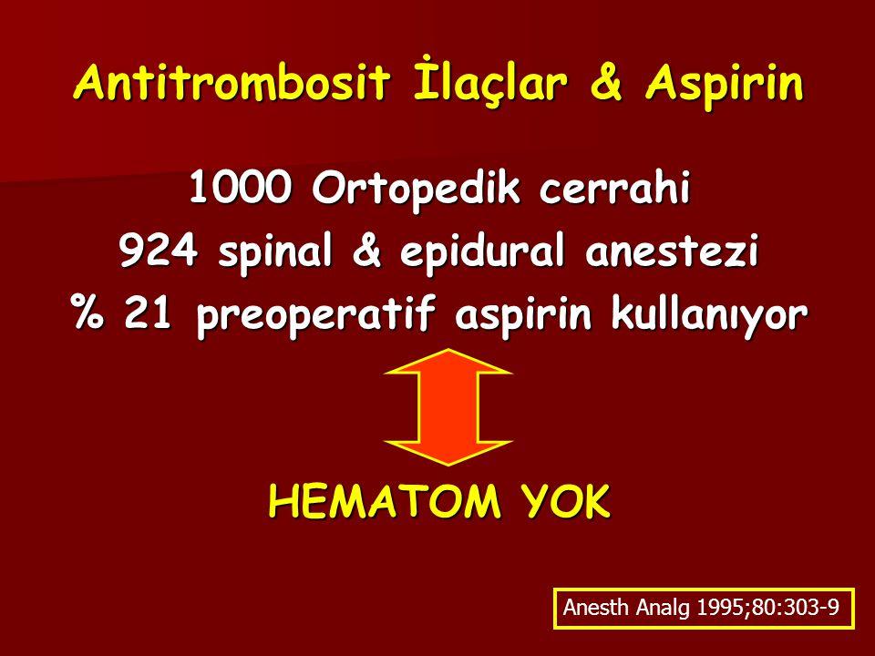 Antitrombosit İlaçlar & Aspirin 1000 Ortopedik cerrahi 924 spinal & epidural anestezi % 21 preoperatif aspirin kullanıyor HEMATOM YOK Anesth Analg 1995;80:303-9