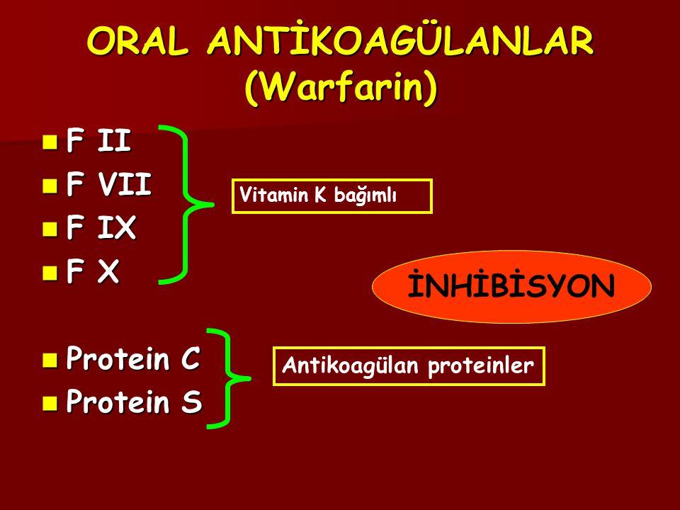 ORAL ANTİKOAGÜLANLAR (Warfarin)  F II  F VII  F IX  F X  Protein C  Protein S Vitamin K bağımlı Antikoagülan proteinler İNHİBİSYON