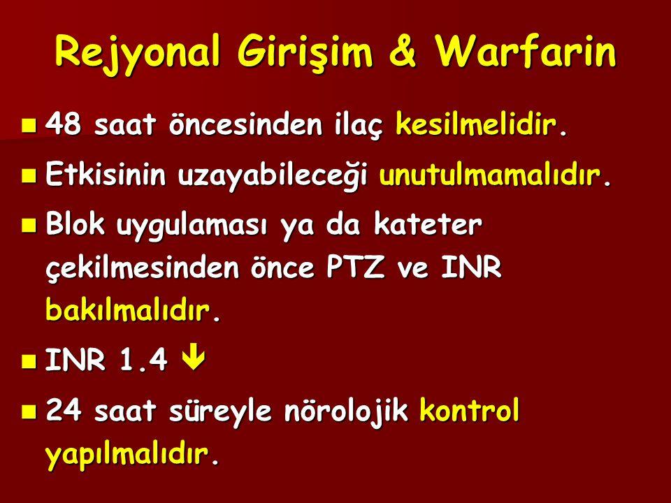 Rejyonal Girişim & Warfarin  48 saat öncesinden ilaç kesilmelidir.