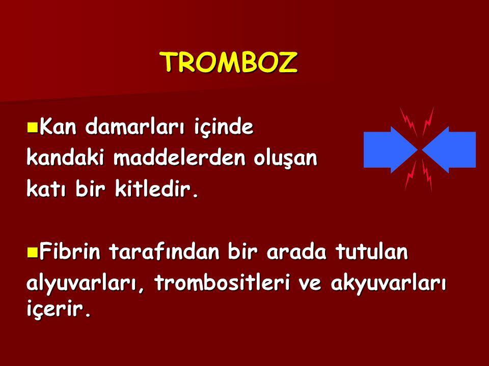 TROMBOZ  Kan damarları içinde kandaki maddelerden oluşan katı bir kitledir.