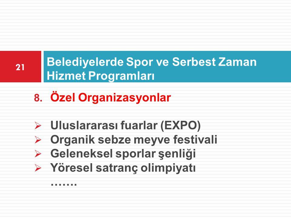 Belediyelerde Spor ve Serbest Zaman Hizmet Programları 21 8. Özel Organizasyonlar  Uluslararası fuarlar (EXPO)  Organik sebze meyve festivali  Gele