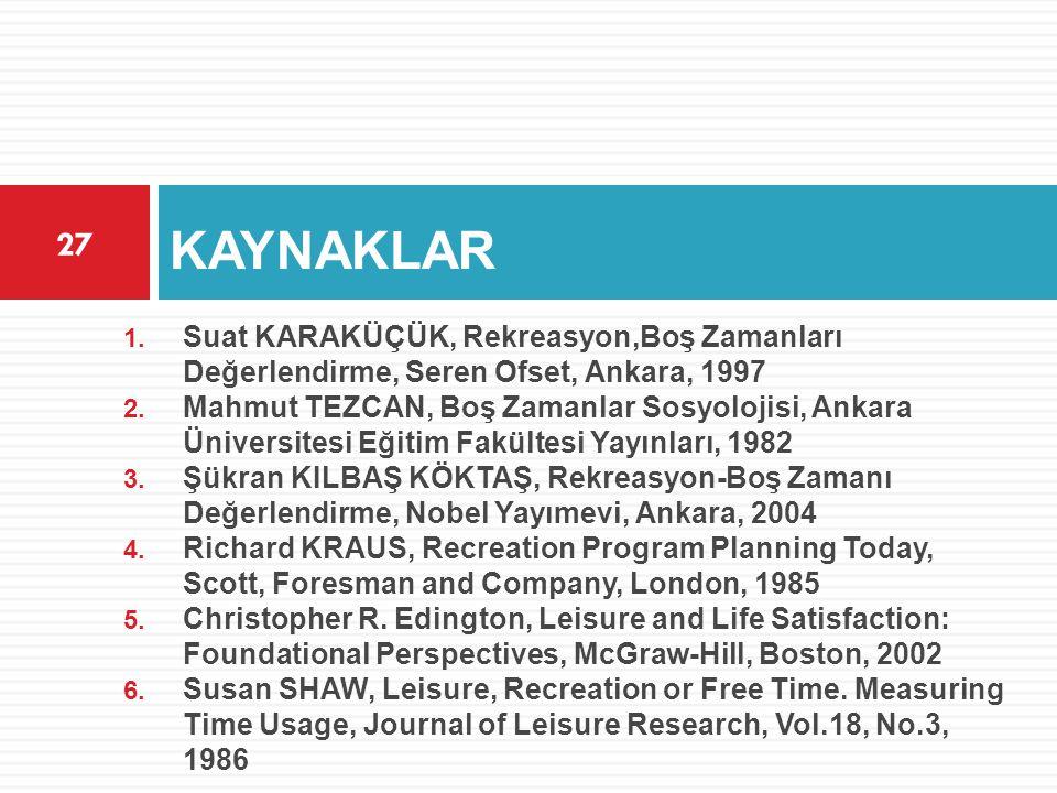 KAYNAKLAR 27 1. Suat KARAKÜÇÜK, Rekreasyon,Boş Zamanları Değerlendirme, Seren Ofset, Ankara, 1997 2. Mahmut TEZCAN, Boş Zamanlar Sosyolojisi, Ankara Ü