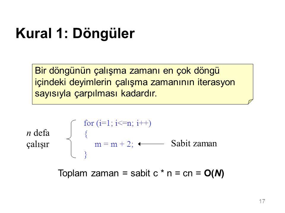 17 Kural 1: Döngüler Bir döngünün çalışma zamanı en çok döngü içindeki deyimlerin çalışma zamanının iterasyon sayısıyla çarpılması kadardır. for (i=1;