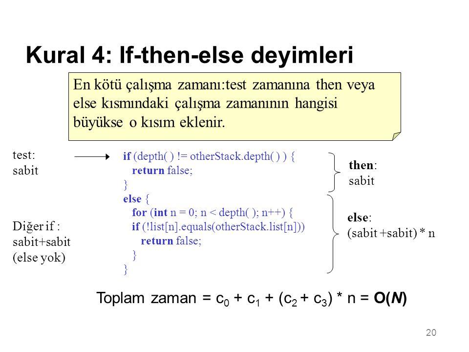 20 Kural 4: If-then-else deyimleri En kötü çalışma zamanı:test zamanına then veya else kısmındaki çalışma zamanının hangisi büyükse o kısım eklenir.