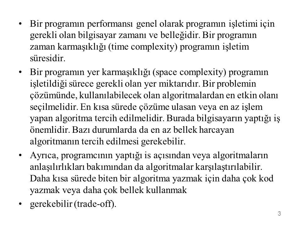 •Bir programın performansı genel olarak programın işletimi için gerekli olan bilgisayar zamanı ve belleğidir. Bir programın zaman karmaşıklığı (time c