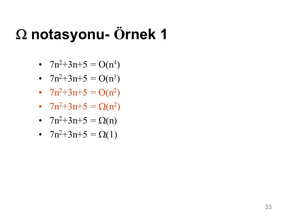 33  notasyonu- Ö rnek 1 •7n 2 +3n+5 = O(n 4 ) •7n 2 +3n+5 = O(n 3 ) •7n 2 +3n+5 = O(n 2 ) •7n 2 +3n+5 =  (n 2 ) •7n 2 +3n+5 =  (n) •7n 2 +3n+5 =  (1)