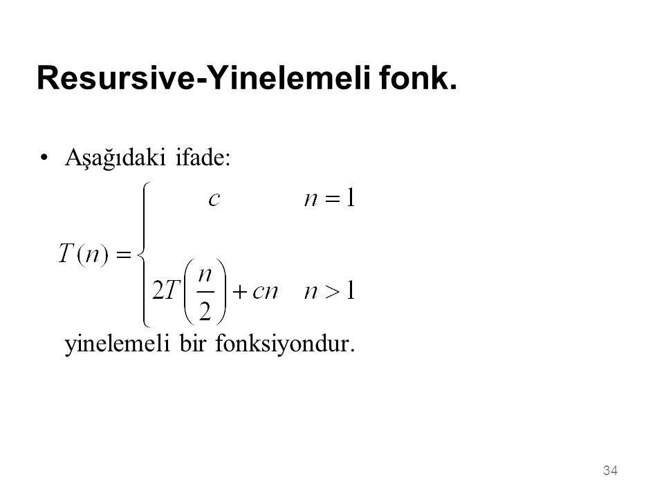 Resursive-Yinelemeli fonk. 34 •Aşağıdaki ifade: yinelemeli bir fonksiyondur.
