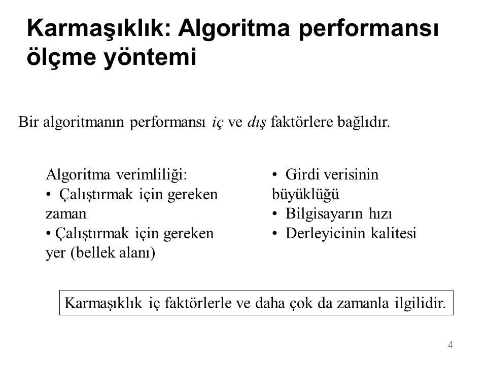4 Karmaşıklık: Algoritma performansı ölçme yöntemi Bir algoritmanın performansı iç ve dış faktörlere bağlıdır. • Girdi verisinin büyüklüğü • Bilgisaya