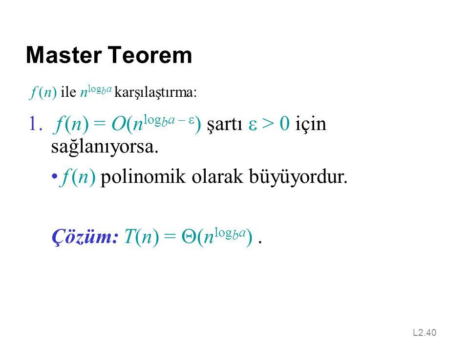 L2.40 Master Teorem f (n) ile n log b a karşılaştırma: 1.