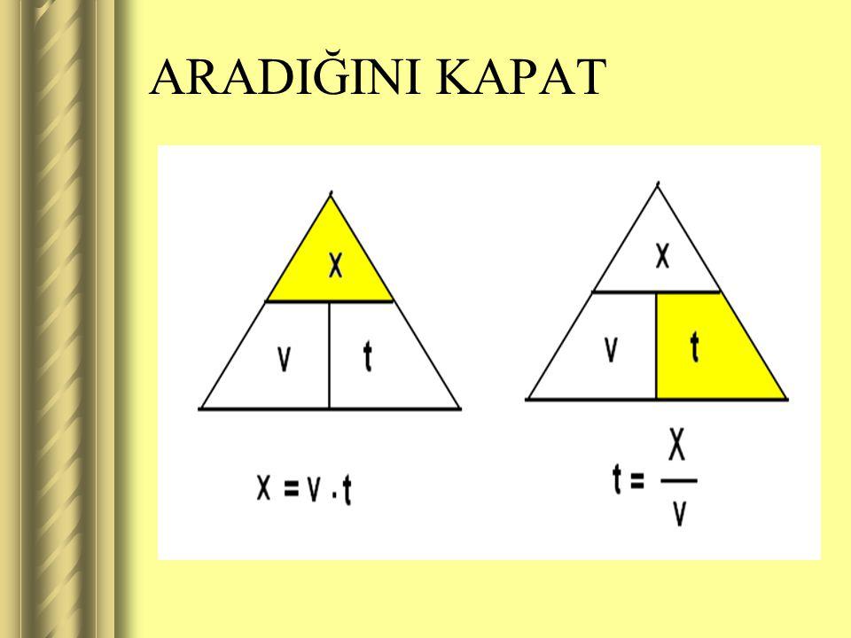  Buradan İçler dışlar çarpımı yaparsak;  Alınan yol için x= v.t  Geçen süre için