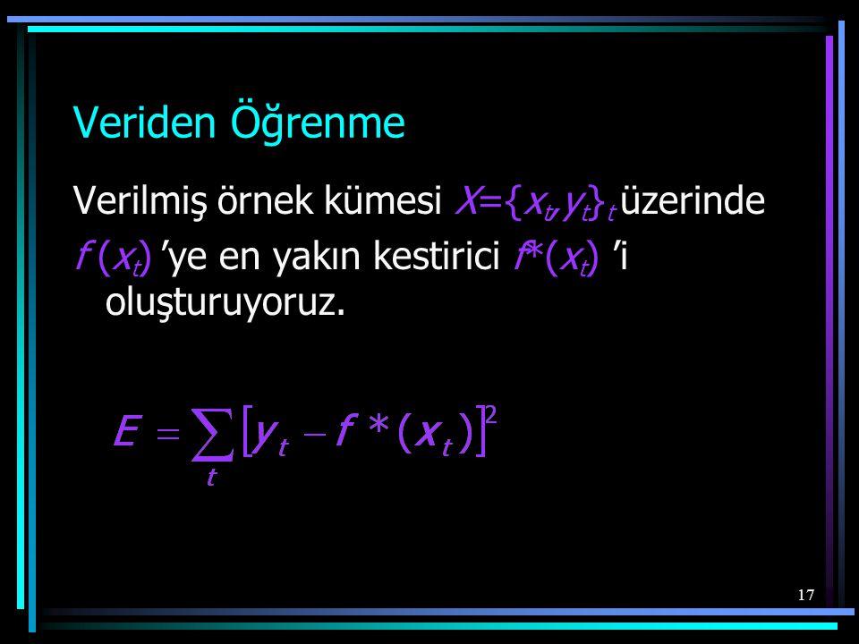 17 Veriden Öğrenme Verilmiş örnek kümesi X={x t,y t } t üzerinde f (x t ) 'ye en yakın kestirici f*(x t ) 'i oluşturuyoruz.