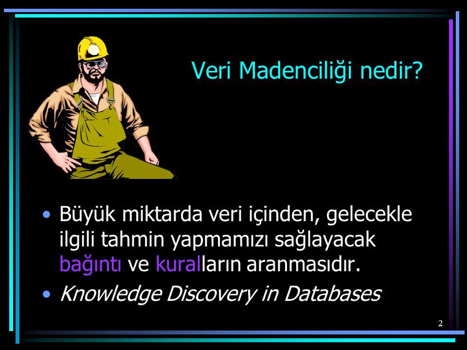 2 Veri Madenciliği nedir? •Büyük miktarda veri içinden, gelecekle ilgili tahmin yapmamızı sağlayacak bağıntı ve kuralların aranmasıdır. •Knowledge Dis