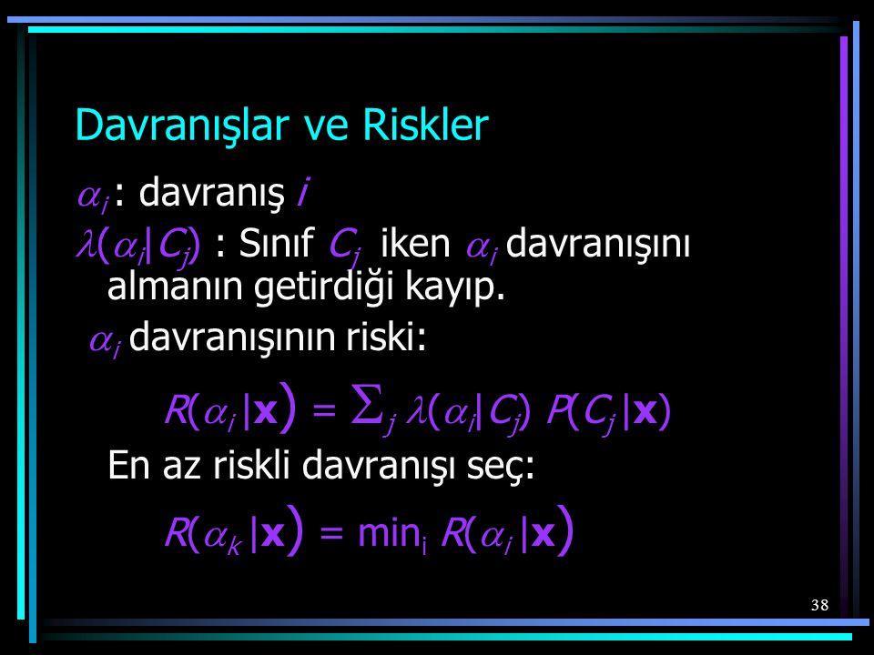 38 Davranışlar ve Riskler  i : davranış i  (  i |C j ) : Sınıf C j iken  i davranışını almanın getirdiği kayıp.  i davranışının riski: R(  i |x