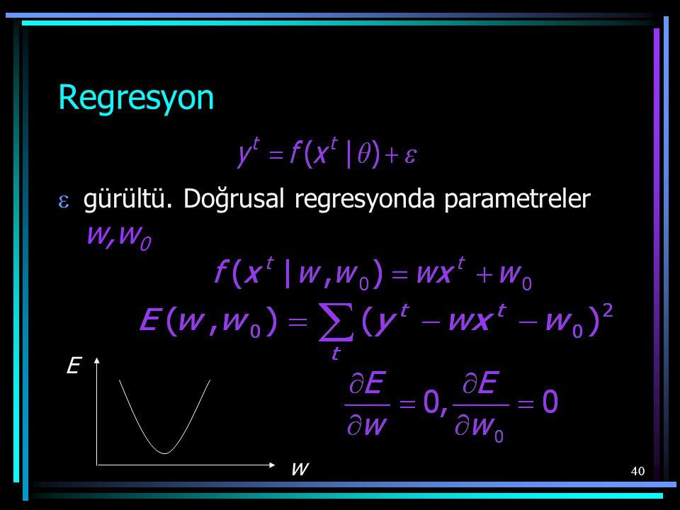 40 Regresyon  gürültü. Doğrusal regresyonda parametreler w,w 0 E w