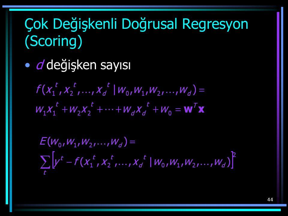 44 Çok Değişkenli Doğrusal Regresyon (Scoring) •d değişken sayısı