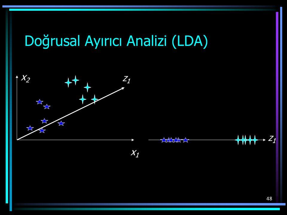 48 Doğrusal Ayırıcı Analizi (LDA) x1x1 z1z1 x2x2 z1z1