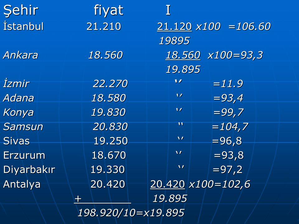 ÖRNEK ÖRNEK  Bir malın 1999-2000 yılları arasındaki satış fiyat ve miktarı aşağıda verilmiştir.sabit ve değişken esaslı fiyat ve miktar endeksini hesaplayınız?