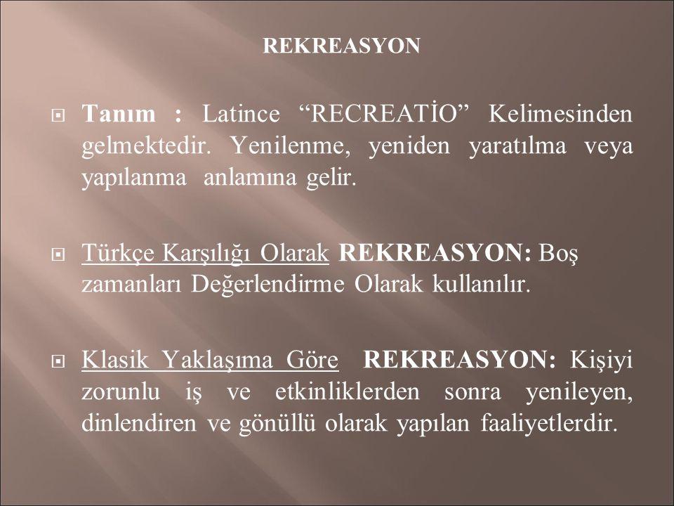 REKREASYON  Tanım : Latince RECREATİO Kelimesinden gelmektedir.