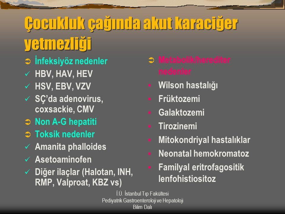 İ.Ü. İstanbul Tıp Fakültesi Pediyatrik Gastroenteroloji ve Hepatoloji Bilim Dalı Çocukluk çağında akut karaciğer yetmezliği  İnfeksiyöz nedenler  HB