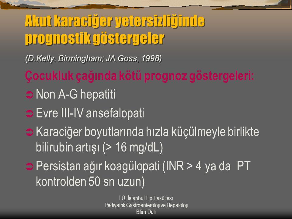İ.Ü. İstanbul Tıp Fakültesi Pediyatrik Gastroenteroloji ve Hepatoloji Bilim Dalı Akut karaciğer yetersizliğinde prognostik göstergeler (D.Kelly, Birmi