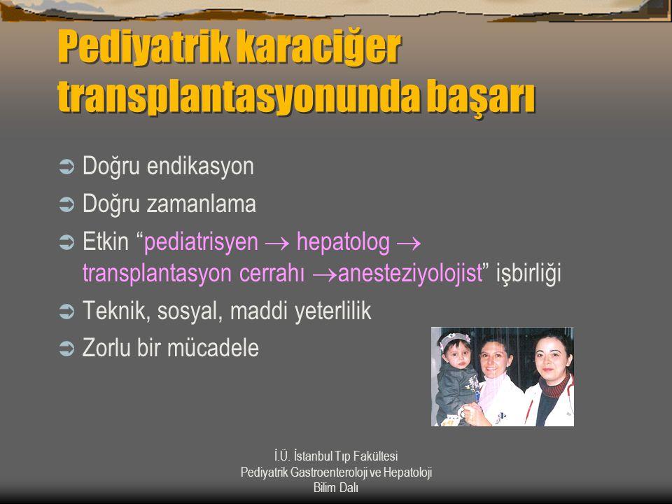 İ.Ü. İstanbul Tıp Fakültesi Pediyatrik Gastroenteroloji ve Hepatoloji Bilim Dalı Pediyatrik karaciğer transplantasyonunda başarı  Doğru endikasyon 