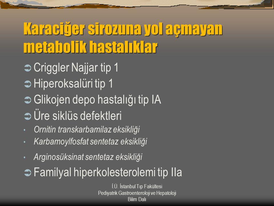 İ.Ü. İstanbul Tıp Fakültesi Pediyatrik Gastroenteroloji ve Hepatoloji Bilim Dalı Karaciğer sirozuna yol açmayan metabolik hastalıklar  Criggler Najja
