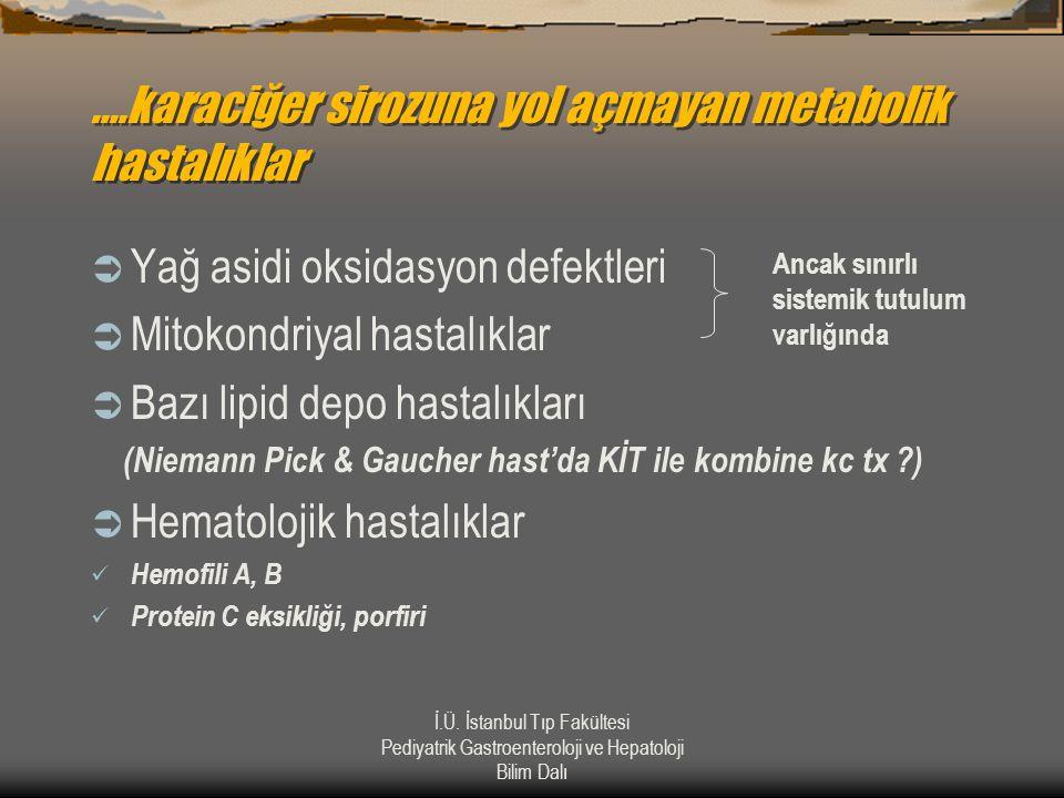 İ.Ü. İstanbul Tıp Fakültesi Pediyatrik Gastroenteroloji ve Hepatoloji Bilim Dalı....karaciğer sirozuna yol açmayan metabolik hastalıklar  Yağ asidi o