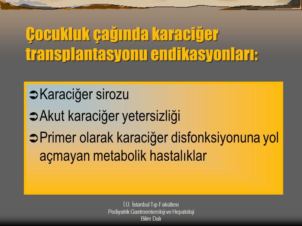 İ.Ü. İstanbul Tıp Fakültesi Pediyatrik Gastroenteroloji ve Hepatoloji Bilim Dalı Çocukluk çağında karaciğer transplantasyonu endikasyonları:  Karaciğ