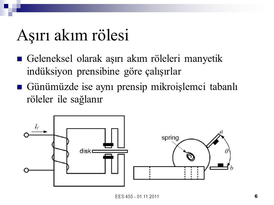 EES 455 - 01.11.20116 Aşırı akım rölesi  Geleneksel olarak aşırı akım röleleri manyetik indüksiyon prensibine göre çalışırlar  Günümüzde ise aynı prensip mikroişlemci tabanlı röleler ile sağlanır