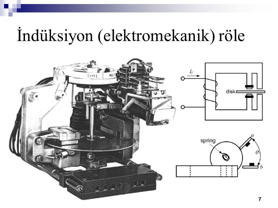 EES 455 - 01.11.20118 Elektromekanik röleler  Manyetik nüve ve alüminyum diskten oluşur  Sargılarına uygulanan akım, alüminyum diske dik bir manyetik alan oluşturur  Manyetik alan, disk üzerinde bir tork meydana getirir.