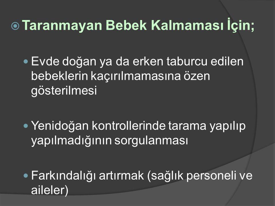  Taranmayan Bebek Kalmaması İçin;  Evde doğan ya da erken taburcu edilen bebeklerin kaçırılmamasına özen gösterilmesi  Yenidoğan kontrollerinde tar