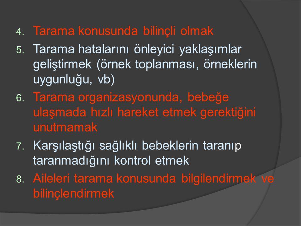 4. Tarama konusunda bilinçli olmak 5. Tarama hatalarını önleyici yaklaşımlar geliştirmek (örnek toplanması, örneklerin uygunluğu, vb) 6. Tarama organi